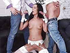Tantalizing Dark haired Angie Moon Has All Three Holes Used by Two Horny Boys