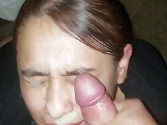 Sexy lady can't stop smiling while she gets a huge facial