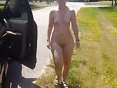 Running around the car naked