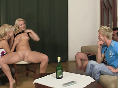 His hairless vagina blonde girlfriend have joy with his olds